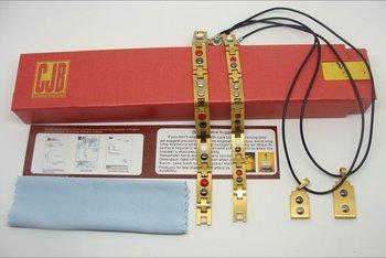 10pcs/lot Buddha titanium magnetic stainless energy bracelet & pendant golden with retail gift box SR-008a