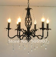 Free shipping 6 lights candle chandlier,black wrought iron crystal chandelier