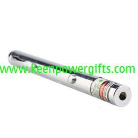 50mW Mid-open Stainless Steel Green Laser Pointer Pen(2 x AAA included)