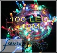 Color 100 LED 10M christmas wedding String Fairy Lights Christmas led light,10pcs/lot,free shipping