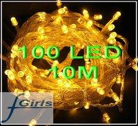 Yellow 100 LED 10M christmas wedding String Fairy Lights Christmas led light,50pcs/lot,free shipping
