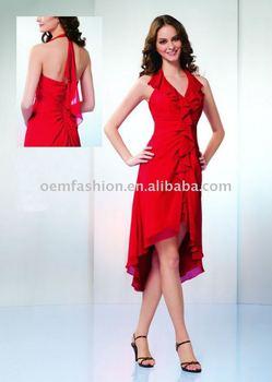 Newest style Designer Halter Chiffon Red Cocktail Dress HL-SD335