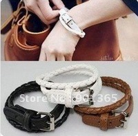 lFashion Leather Buckle Bracelet Star Jewelry 30pcs/lot Mixed Colors