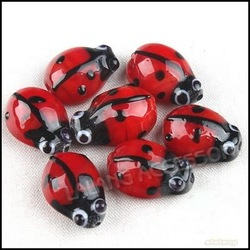 3Strings/lot New Charms Red Insect Glass Cute Beads Beauty Fashion Beads 110877(China (Mainland))
