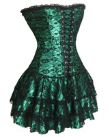 3 Pcs Green Corset Bustier With Corset Top And Lace Up + Mini Skirt + G-string