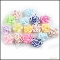 120pcs/lot Colorful Flowers Polymer Clay Bead  15mm 110940