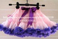 kids girl fashion pink pettiskirt purple edge butterfly knot size:90-100-110-120-130 20 pcs/lot