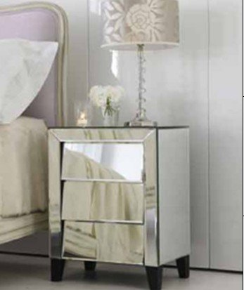 glass mirrored night stand bed sidetable chest mirrored furniture