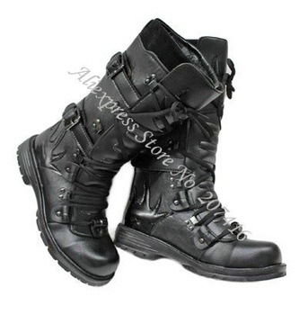 Free shipping,Men's Half Boots,Men Mid-Calf Boots,Men Shoes,Punk Buckle Strap Lace-Up Cowboy Boots,Fashion Brand Casual Shoes