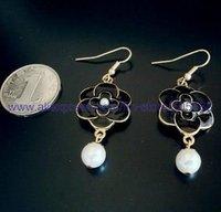 R090 free shipping 12/lot wholesale beautiful fashion earring ear drop silver plated flower pearl earrings for women