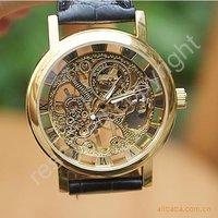 Free shipping.Luxury automatic mechanical movement hollow Wrist Watch Gentleman Watch