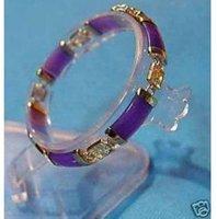 Superb Jewelry Natural  Purple 14 K GOLD Bangle bracelet shipping free