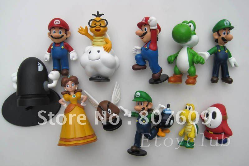 Wholesale Free shipping High Quality PVC 12pcs Super Mario Bros Luigi Action Figures f/ Xmas Gift hot new arrival model toy(China (Mainland))