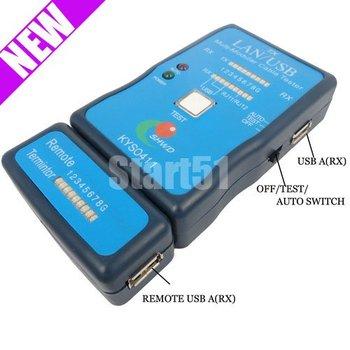 wholesale free shipping 10pcs/lot Cable Tester LAN USB Ethernet Network RJ-45 Cat5 RJ11