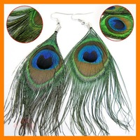 Free shipping 24 pcs/lot Womens Peacock Feather Pierced Earrings real feather