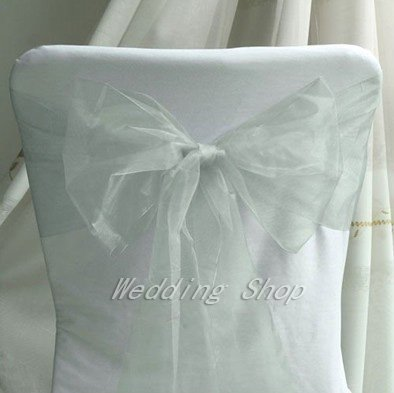 FREE SHIPPING --Promotion--100pcs Silver Wedding Party Banquet Chair Organza Sash Bow(China (Mainland))