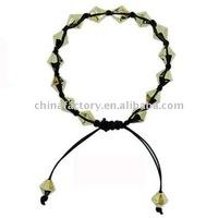 fashion jewelry gold cone wax cord shamballa bracelet