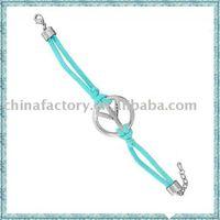 2011 fashion cord peace alloy bracelet