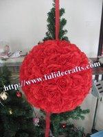 30cm foam center  Christmas artificial flower ball,kissing flower ball,wedding decorations 8pcs/lot more color,more size