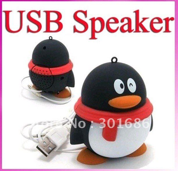 Penguin USB QQ Mini Speakers System for PSP PC MP3 MP4, good quality, lowest price. 50pcs/lot free shipping(China (Mainland))
