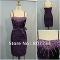 FREE SHIPPING!!! RE009 elegant pleated sexy purple cocktail dress US size 2 4 6 8 10 12 14 16