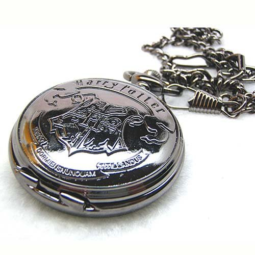 Free shipping Hot saleblack Harry Potter Magic Black Metal Pocket Watch(China (Mainland))