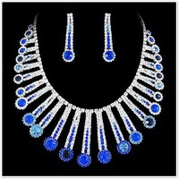 Blue bridal wedding jewelry set evening dress bridal gown accessories party Valentine gift