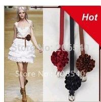 FRE/drop shipping New Slender Satin Flower Buckle Style Belt Waistband
