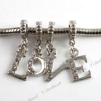 16pcs LOVE Rhinestones Charms Pendant Fit Bracelet 150429
