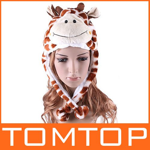 5pcs/lot Lovely Cartoon Animal Hat Soft Plush Winter Warm Brown Deer Fawn Hat Cap Free Shipping Dropshipping(China (Mainland))