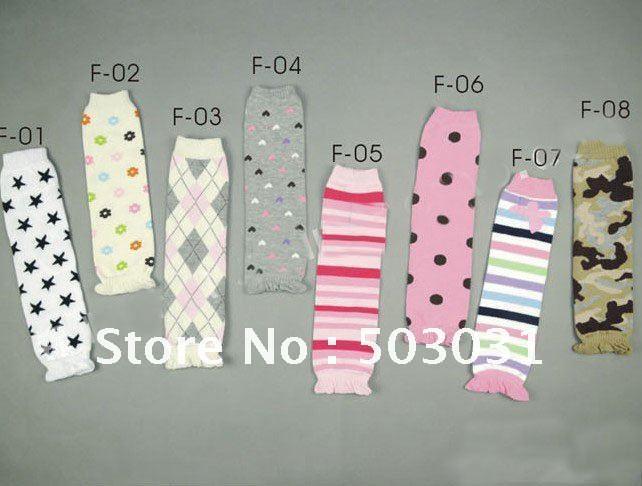 100pair/lot Wholesale baby socks lace leg warmers knee pad children leggings toddler Loosen Welt High socks stocking 8 styles(China (Mainland))