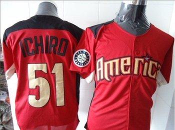 Free shipping - 2011 All Star Amercian Seattle Mariners # 51 Ichiro Suzuki Red Baseball Jerseys