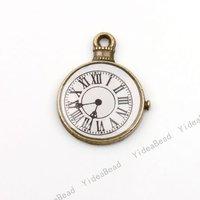 30pcs New Arrival Antique Bronze Tone Charms Pendants Beads Clock Shape Pandent Fit CHAINS 140158