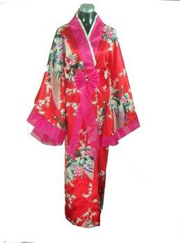 Free Shipping Japanese Women's Silk Rayon Kimono Flowers One Size Red Wholesale Retail H0033-1