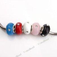 40 Mixed Lampwork Glaze Glass Charms Beads Diy Murano Beads Inlay Rhinestone FIT Bracelets 151606