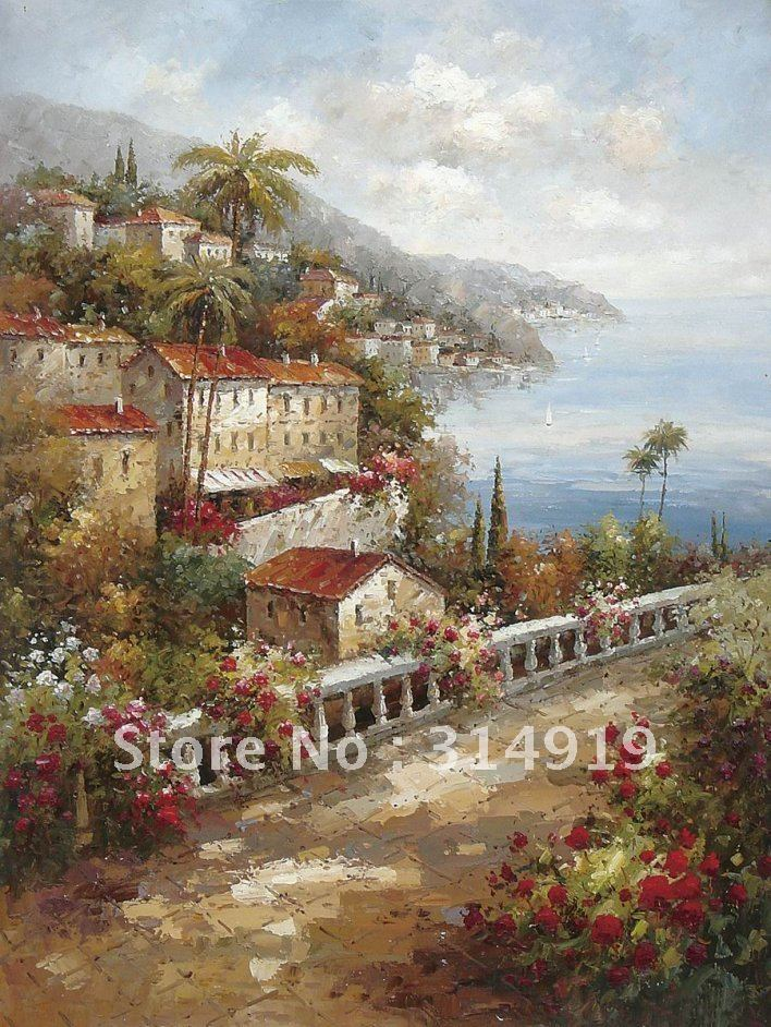 Impression landscape oil painting,impressionist art,mediterranean oil painting(China (Mainland))