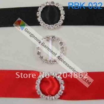 (Free Shipping) 50pcs/lot  18mm Round Rhinestone Ribbon Buckles in Sliver for wedding invitation