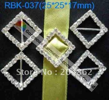 Free Shipping 50pcs/lot, 25mm Square Rhinestone Ribbon Buckles in Sliver for wedding invitation