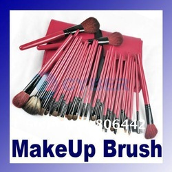 30 Pcs Red High Quanlity Professional Makeup Brush Cosmetic Set Kit with Roll-up Leather Pouch(China (Mainland))