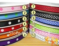 """Wholesale 60 yards 3/8"""" 10MM Polka Dots GROSGRAIN Ribbon Hair Bow Ribbon -Free Shipping"""