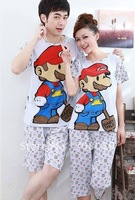 Ms. men summer short-sleeved cotton Pajama Set cute couple home furnishing recreational sports clothing