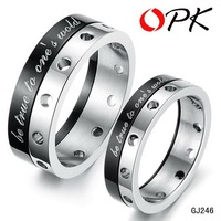 "OPK JEWELRY stainless steel ring couple finger rings rotatable carved ""be ture to one's world"" never fade  free shipping 246"