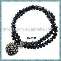 2011 fashion jewelry 2lines strech handmade shamballa bracelet with crystal ball