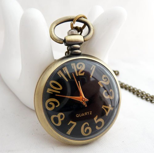 Free shipping~Glamour of the black substrate pocket watch necklace,fashion jewelry,fashion watch,popular necklace,branze XL056(China (Mainland))