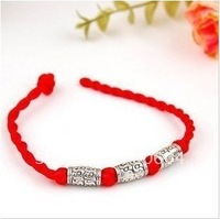 SALE only 1 lot Handicraft DIY Red rope weave charmBracelet  Vintage Silver Beads