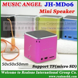 Mini Speaker read TF card free shipping wholesale sound box MUSIC ANGEL MD06 original quality+4pcs/lot+crystal gift speaker pack(China (Mainland))