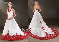 2011 Sexy Halter wedding dress A-line Wedding dresses V-Neck wedding gowns white and red color satin embroidery(China (Mainland))