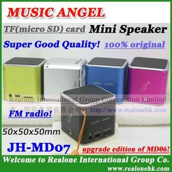 (4pcs/lot)Wholesale Speaker Free Shipping portable music sound box,original MUSIC ANGEL hot mini black speaker JH-MD07,TFcard+FM