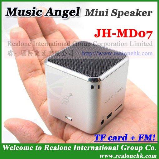 Portable Speaker MUSIC ANGEL Speaker MD07 FM speaker+TF card Mini speaker box+100% original quality+1PC HOT sale(China (Mainland))