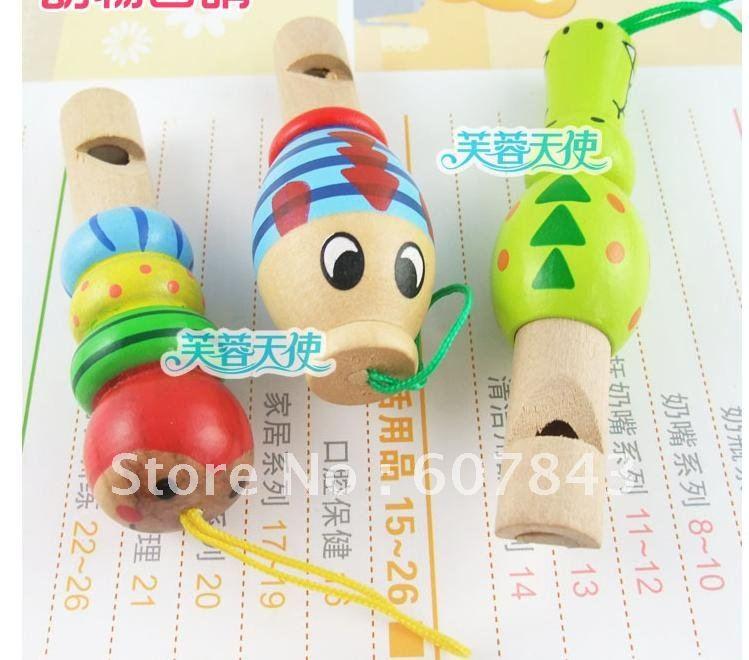 لعبة الأطفال الموسيقى صافرة خشبية الحيوانات الرسم الملون أو نمط الظهر الهاتف المحمول شنق تزين